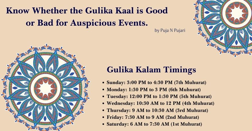 Gulika Kalam Today's Timings and Also Know Whether the Gulika Kaal is Good or Bad for Auspicious Events.